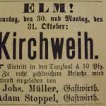 1898 Anzeige erste Kirmes